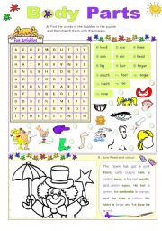 English Worksheet: Body Parts  -  Fun Activities