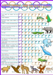 English Worksheets: Animals Riddle � Vocabulary Game � Keys included � 3 pages � Editable