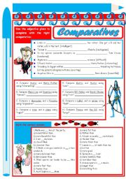 English Worksheet: Comparatives � 3 tasks � 2 pages � keys included � editable