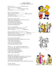 English Worksheet: Lyrics, THAT`S FRIENDS ARE FOR.   VALENTINE`S DAY.