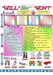 English Worksheet: will and won´t