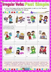 English Worksheet: Irregular Verbs:   Past Simple  (all forms)