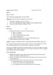 English worksheet: Summary Writing in Novels