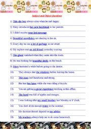 English Worksheet: Subject and Object Questions.