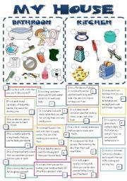 English Worksheet: MY HOUSE (bathroom & kitchen) *B&W + KEY*