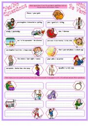 English Worksheet: Yes/No Questions with To Be Past & Present, with Key.