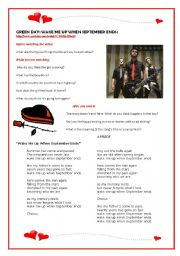 English Worksheets: Videoclip and song by GREEN DAY: Wake me up when September ends