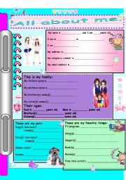 English Worksheet: All about me (for girls) Part A