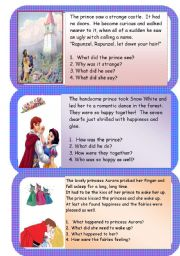 English Worksheet: Mini comprehensions - fairy tales