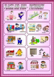 English Worksheets: PLACES AND JOBS - PICTIONARY