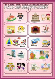 English Worksheet: PLACES AND JOBS (2)- PICTIONARY