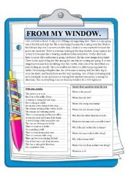 English Worksheets: From my window. Reading comprehension.