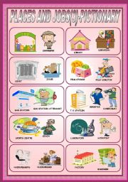 English Worksheets: PLACES AND JOBS (3)- PICTIONARY