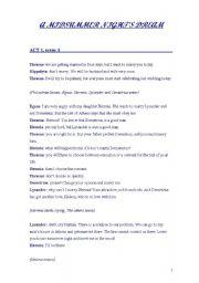 English Worksheets: a midsumer night dream