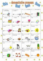 English worksheets: demonstrative pronouns worksheets