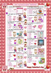 English Worksheet: The Legend of Saint Valentine