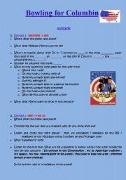 English Worksheet: bowling for columbine