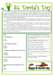 English Worksheets: St. David�s Day