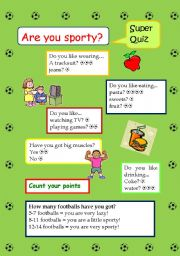English Worksheet: Quiz - Are you sporty?