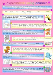 English Worksheets: expressions using animals 1/3 (bw version, key)