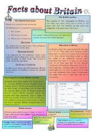 English Worksheets: Facts about Britain: government, climate, education, houses