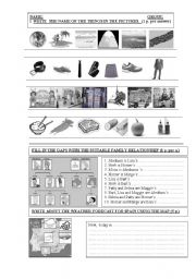 English worksheet: Vocabulary Pictorial Test