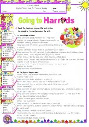 English Worksheet: Going To Harrods  -  Reading Comprehension Test