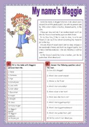English Worksheet: My name´s Maggie
