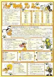 English Worksheet: The verb to be-e – reading • grammar • chart • exercises • 6 tasks • B&W version • teacher's printable with keys • 3 pages • editable
