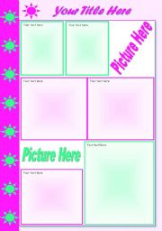 English Worksheets: Template Sun Green & Pink � grouped � textboxes added � spaces for pictures � 32 kb � 2 pages � editable