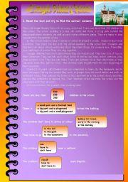 English Worksheets: reading comprehension - school