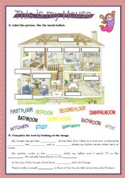 house esl worksheet by. Black Bedroom Furniture Sets. Home Design Ideas