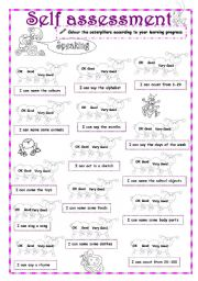 English Worksheet: Self-Assessment (1/3) - Speaking