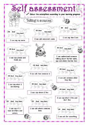 English Worksheet: Self-Assessment (2/3) - Talking to someone