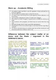 English Worksheets: Academic Writing