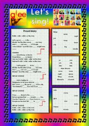 English Worksheet: GLEE SERIES � SONGS FOR CLASS! S01E09 � THREE SONGS � FULLY EDITABLE WITH KEY!