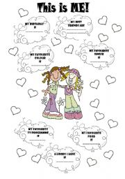 English Worksheet: PORTFOLIO: THIS IS ME! (Personal information)