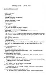 English Worksheet: trinity oral exam level two