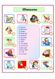English Worksheet: illness matching