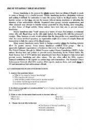 English Worksheets: Money Laundering