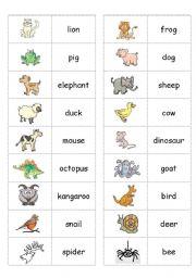 English Worksheets: ANIMAL  DOMINOS