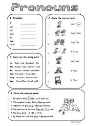 English Worksheet: very basic personal (subject) pronouns
