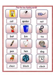 English Worksheet: Find the two rhyming words