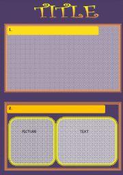 English worksheet: Yellow-purple template