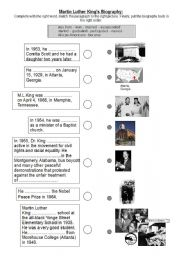 English Worksheets Martin Luther King Jr S Biography Past Simple
