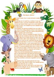 English Worksheets: My trip to Africa