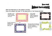 English Worksheets: animal caricatures