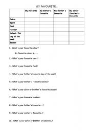 English Worksheets: My Favourite