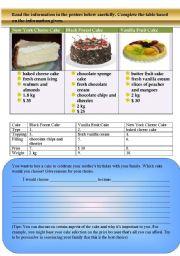 English Worksheets: Cakes!