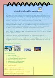 English Worksheet: Argentina, a beautiful country
